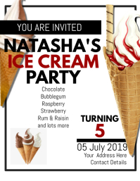 Ice cream BIRTHDAY INVITATION FLYER TEMPLATE