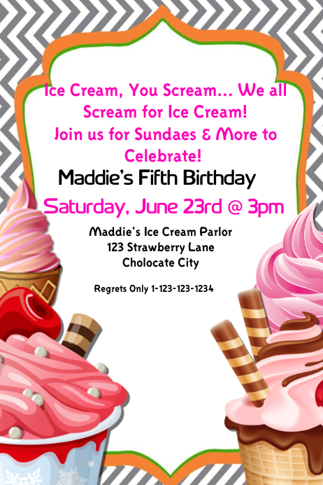 Ice Cream Birthday Party Invite Template Postermywall