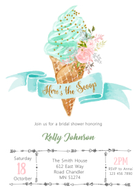 Ice cream bridal shower invitation A6 template