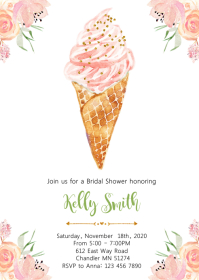 Ice-cream bridal shower party invitation