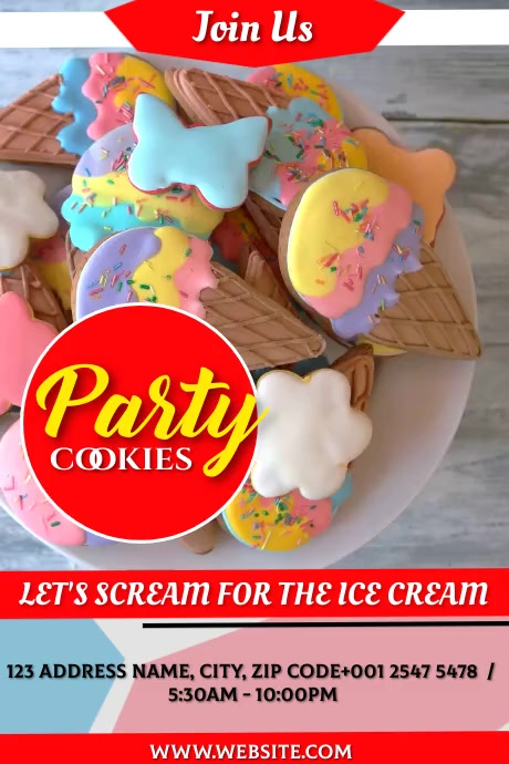 ice cream cookie Poster template