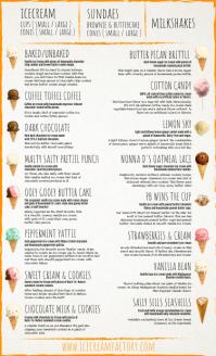 Ice Cream Dairy Menu Template US Legal