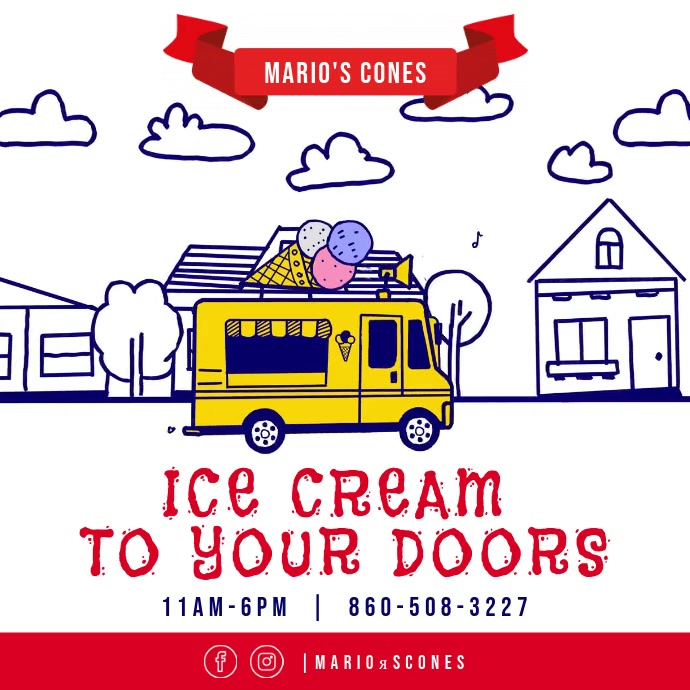Ice Cream Delivery Instagram post video Square (1:1) template
