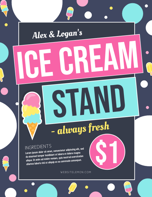 Ice cream Flyer (US Letter) template
