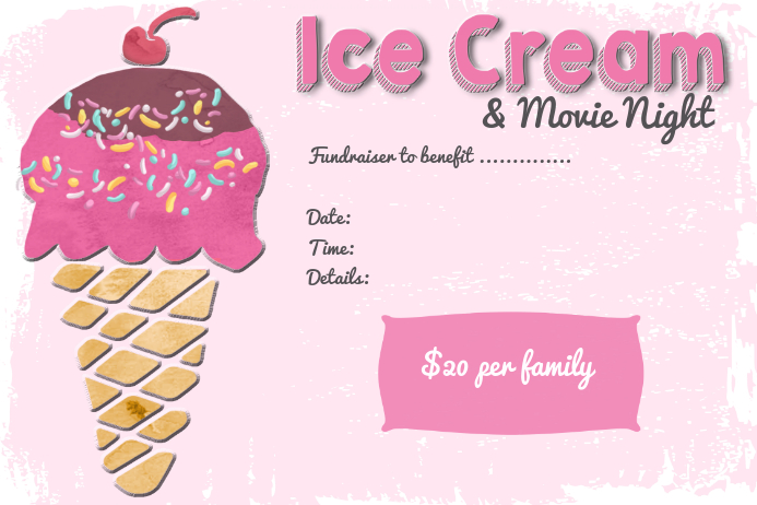 Ice Cream Dessert Movie Night Event Flyer Poster Invitation