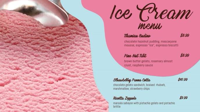 Ice Cream Digital Display Menu Template
