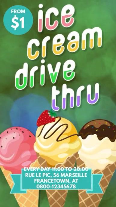 Ice cream drive thru instagram facebook story template