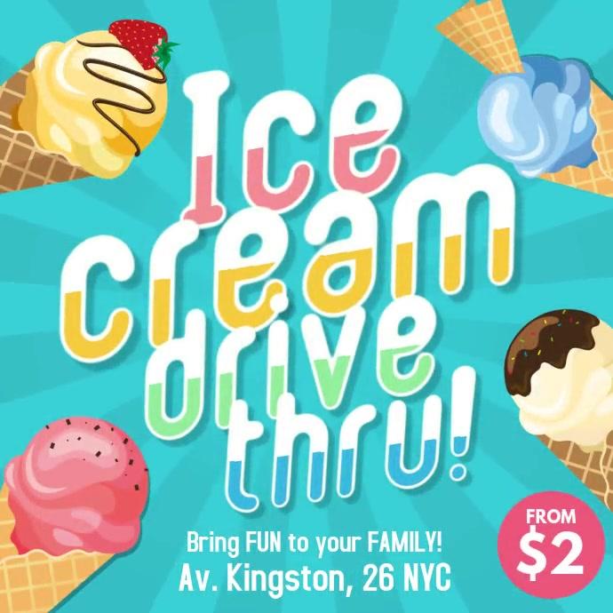 Ice cream drive thru instagram square post template