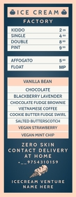 Ice-Cream Factory Menu Card Template Letter Setengah Halaman
