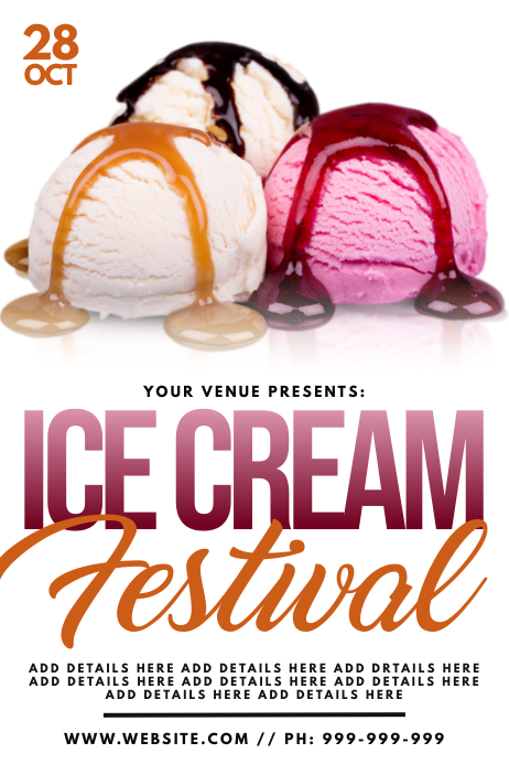 Ice Cream Festival Poster Plakat template