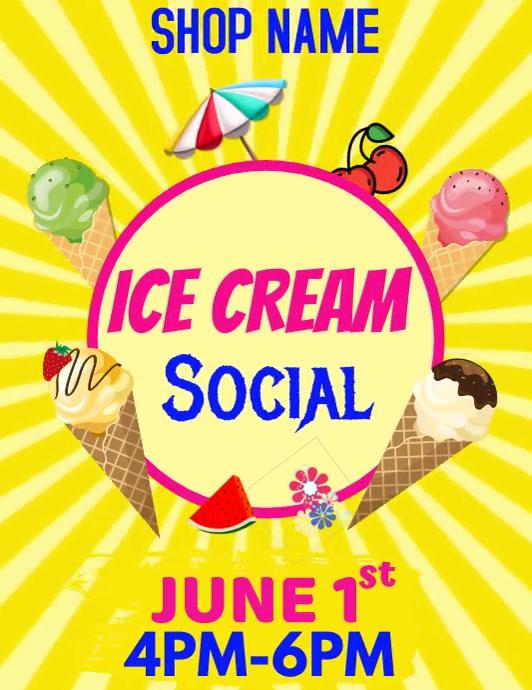 Ice cream Flyer Template Volantino (US Letter)