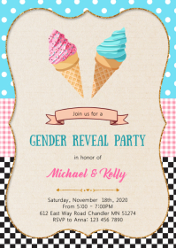 Ice cream gender reveal invitation
