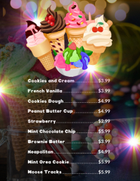 Ice cream menu Flyer (Letter pang-US) template