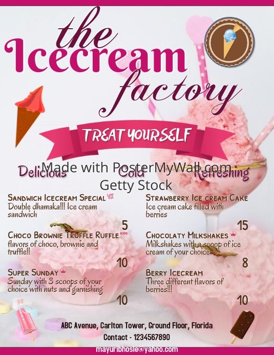ice cream menu template postermywall