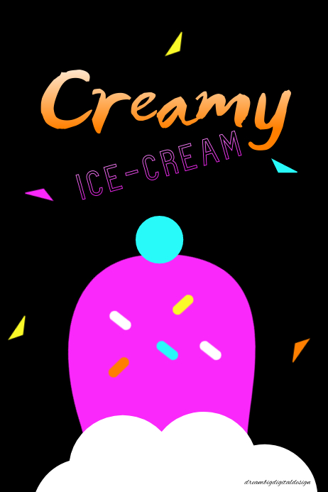 Ice Cream Neon Poster Póster template