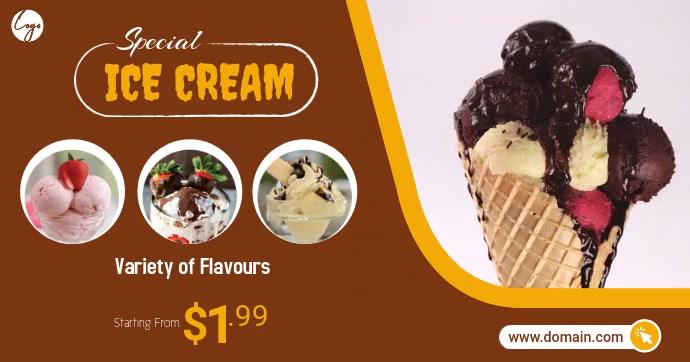 Ice Cream Offer delt Facebook-billede template