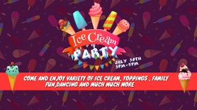 Ice Cream Party Twitter Post template