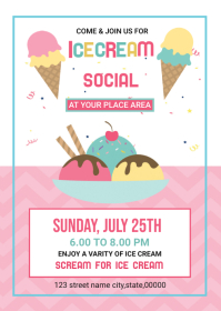 Ice Cream Party Flyer A6 template