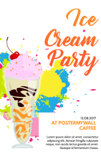 Ice cream party flyer template