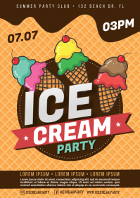 ICE CREAM PARTY POSTER A4 template