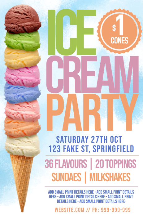 Ice Cream Party Poster template
