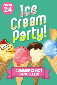 Ice Cream Party Social Poster Flyer