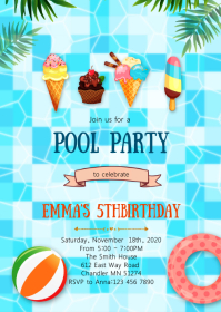 Ice-cream pool birthday party invitation