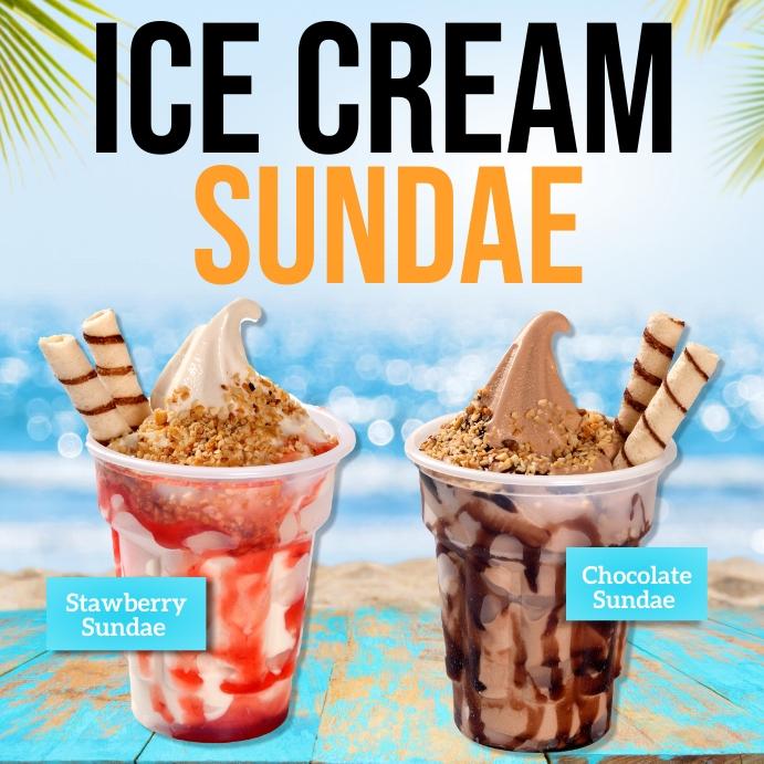 Ice cream poster, ice cream Instagram-bericht template