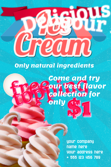 Ice Cream Poster Template Plakat