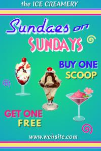 Ice Cream Sale Poster template