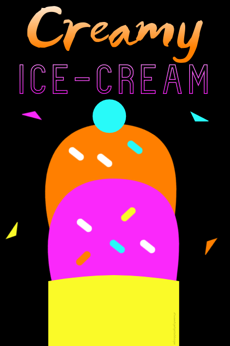 Ice Cream Scoops Neon Poster โปสเตอร์ template