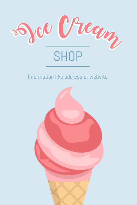 Ice Cream Shop Pastel Poster Template | PosterMyWall