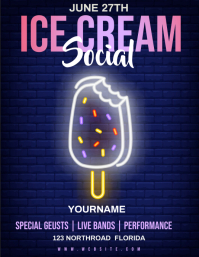 ice cream social AD FLYER TEMPLATE Volante (Carta US)