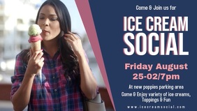 Ice Cream Social Banner Design Facebook Cover Video (16:9) template