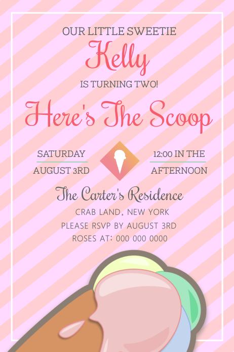 Ice Cream Social Birthday Party Poster