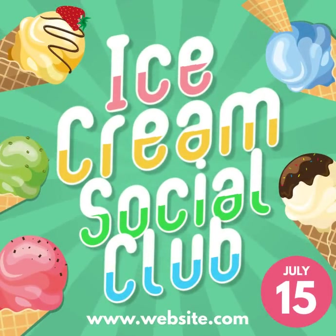 Ice Cream Social Club logo instagram post Instagram-opslag template