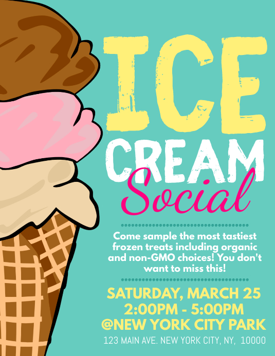 Ice Cream Social Flyer (US-Letter) template