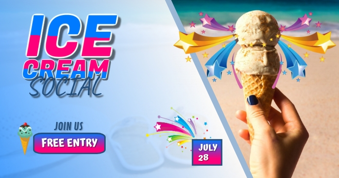 Ice Cream social Facebook Shared Image template