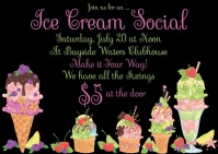 Ice Cream Social Invitation Postkort template