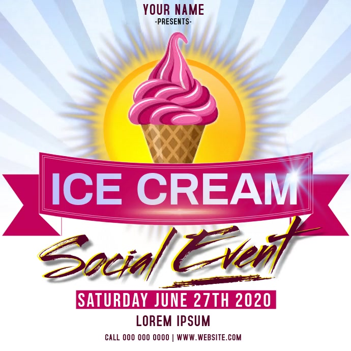 ice cream social event ad instagram Instagram-opslag template