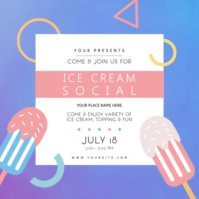 Ice Cream Social Event Instagram Video Instagram-opslag template