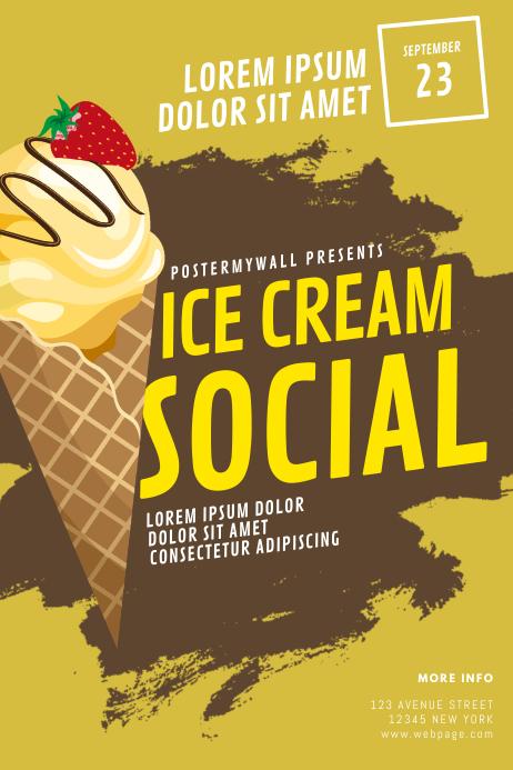 Ice Cream Social Flyer Design Template โปสเตอร์