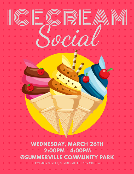 Ice Cream Social Flyer