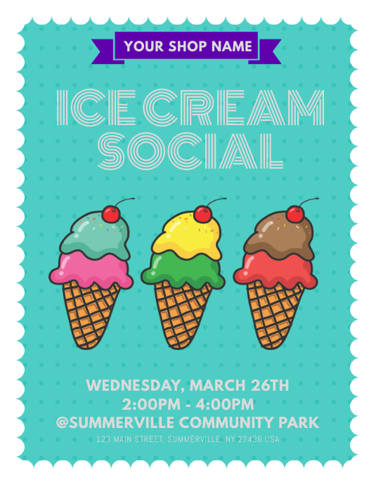 Ice Cream Social Flyer Template Postermywall