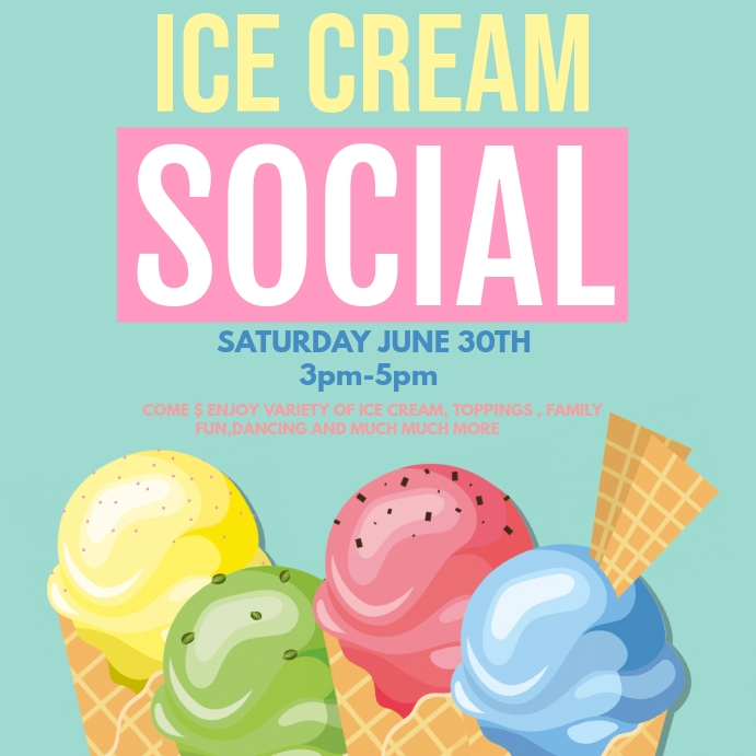 ice cream social instagram post template