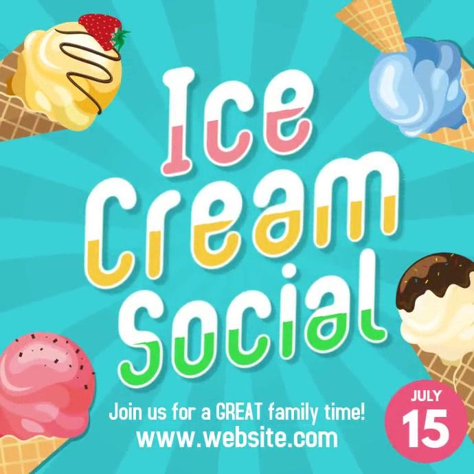 Ice cream Social instagram square post ad template