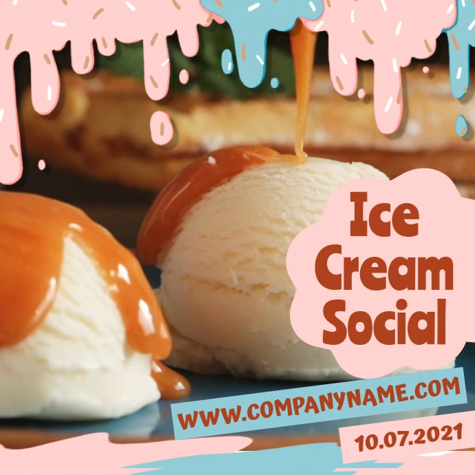 Ice Cream Social Instagram Video Instagram-opslag template