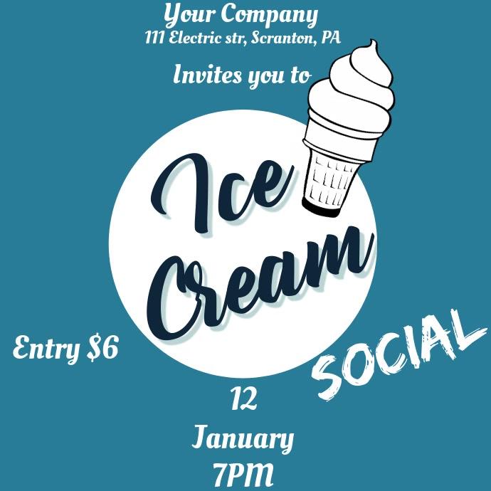 Ice Cream Social Invite Video Ad Kvadrat (1:1) template