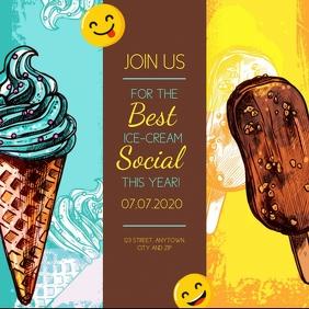 ICE CREAM SOCIAL PARTY EVENT Template Quadrat (1:1)