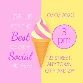 iCE CREAM SOCIAL PARTY EVENT Template Cuadrado (1:1)
